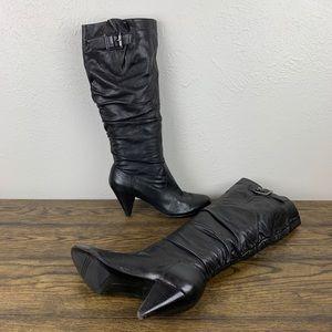Nine West Black Leather Knee-Hi Boots Size 8M